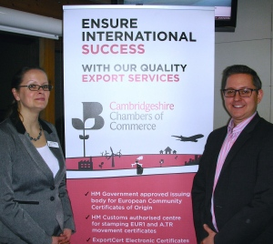 Fiona Tester, International Trade Manager, Cambridgeshire Chambers of Commerce, with Cintra Translation Business Development Manager, Anthony Gray