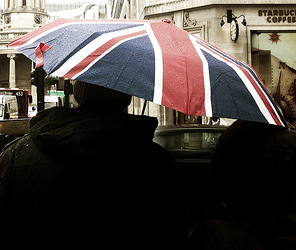 union jack umbrella London in the rain